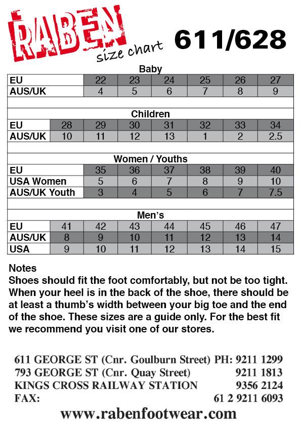 Raben Footwear Size Chart