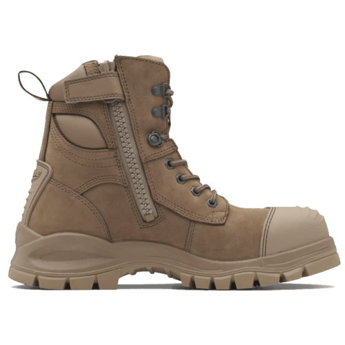Blundstone 984 Zip UP Stone Colour Safety Boots Steel Toe Cap